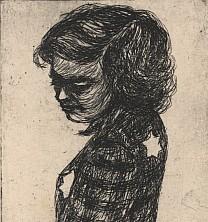 'Dziewczynka z żółtą gwiazdą' – odbitka z miedziorytu, autorstwa Esther Lurie, podarowana do zbiorów Muzeum Stutthof przez Marie Luise Soltmann, z Aktion Zühnezeichen, w 1973r.