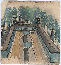 Fragment Starego Obozu z widokiem na baraki szpitala obozowego i komin krematorium, obok którego widoczna jest szubienica