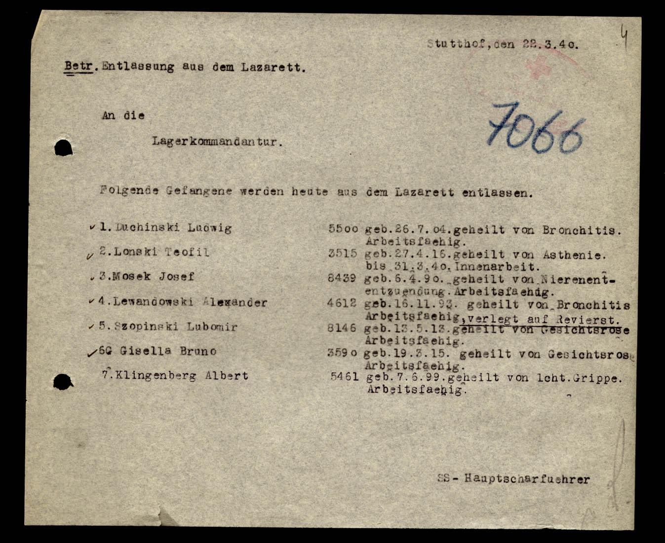 Wykaz wypisanych ze szpitala obozowego z 22 marca 1940 r.