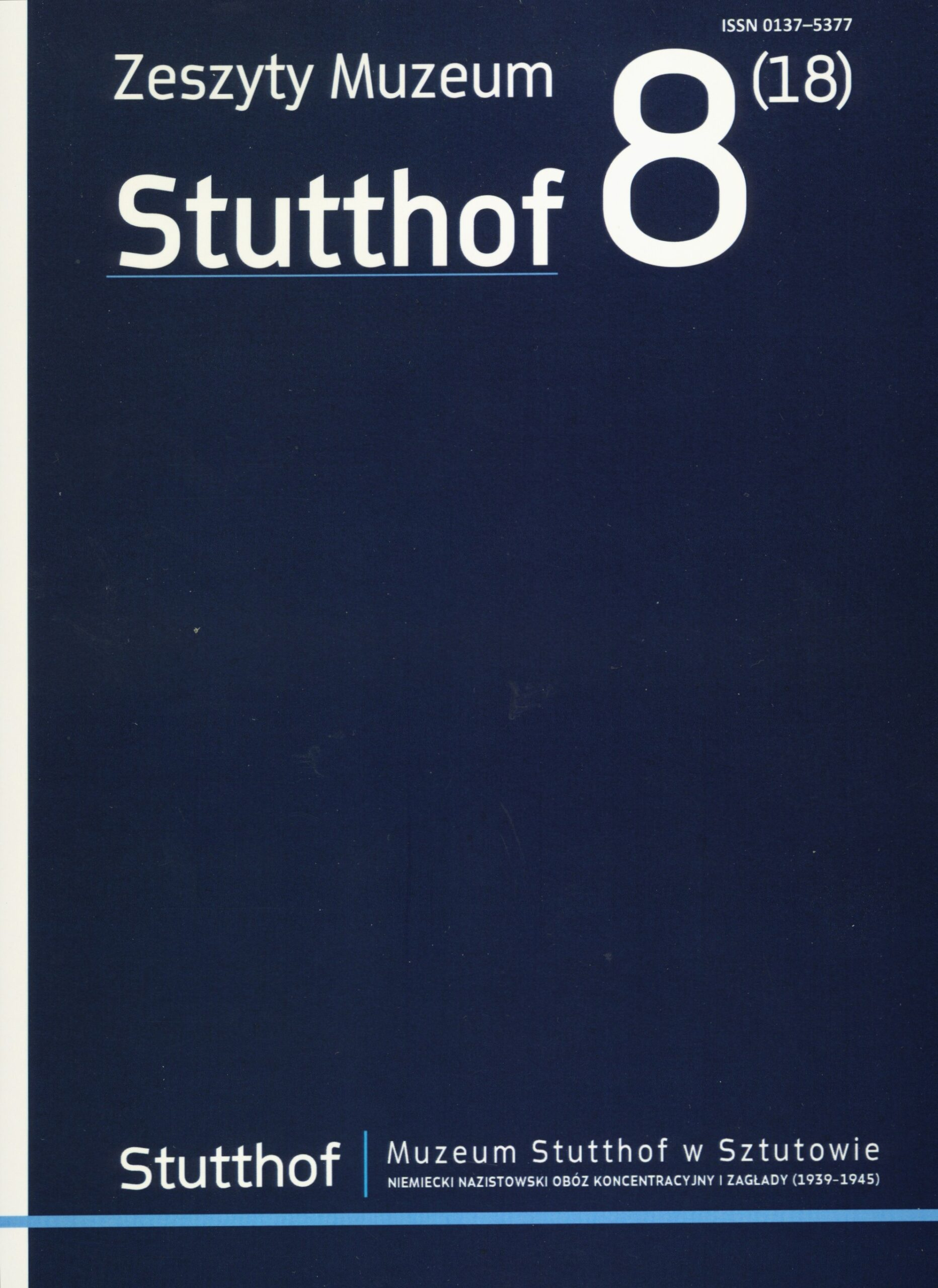 okładka Zeszyty Muzeum  Stutthof nr 8(18)